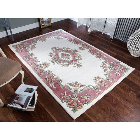 Image of Royal Cream Rose Area Rug RUGSANDROOMS