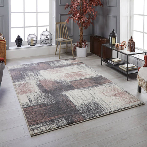 Image of Sansa Grey/Pink Area Rug RUGSANDROOMS