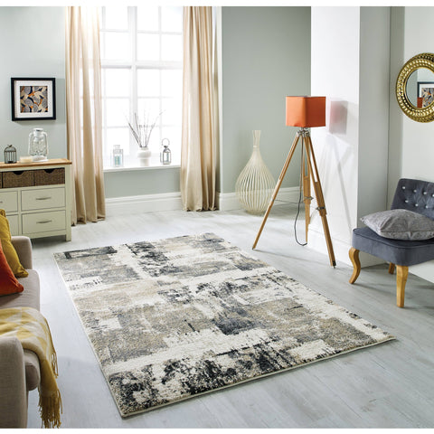 Sansa Cream/Grey Area Rug RUGSANDROOMS