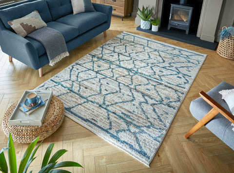Bella Natural / Blue Area Rug