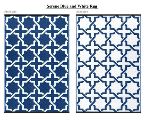 Image of Serene Blue & White Indoor-Outdoor Reversible Rug cvsonia