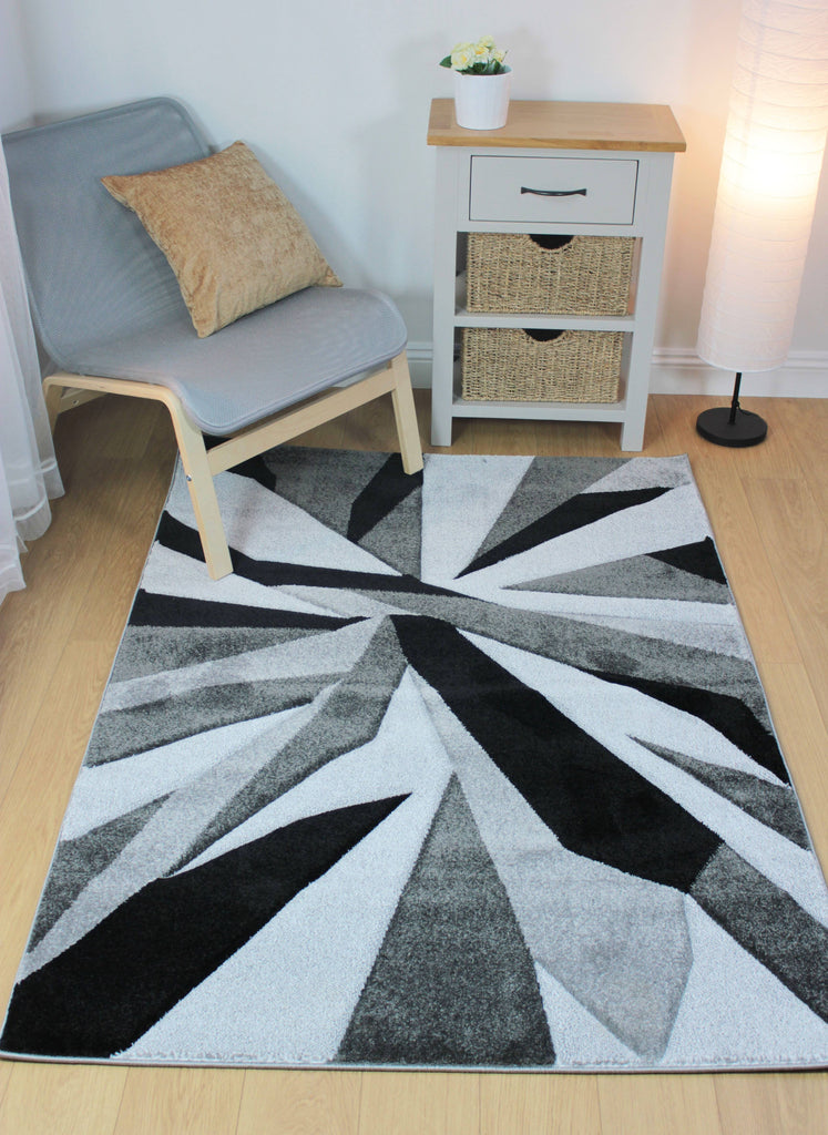 Shatter Black/Grey Area Rug RUGSANDROOMS