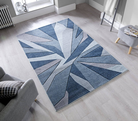 Image of Shatter Denim Blue Area Rug RUGSANDROOMS