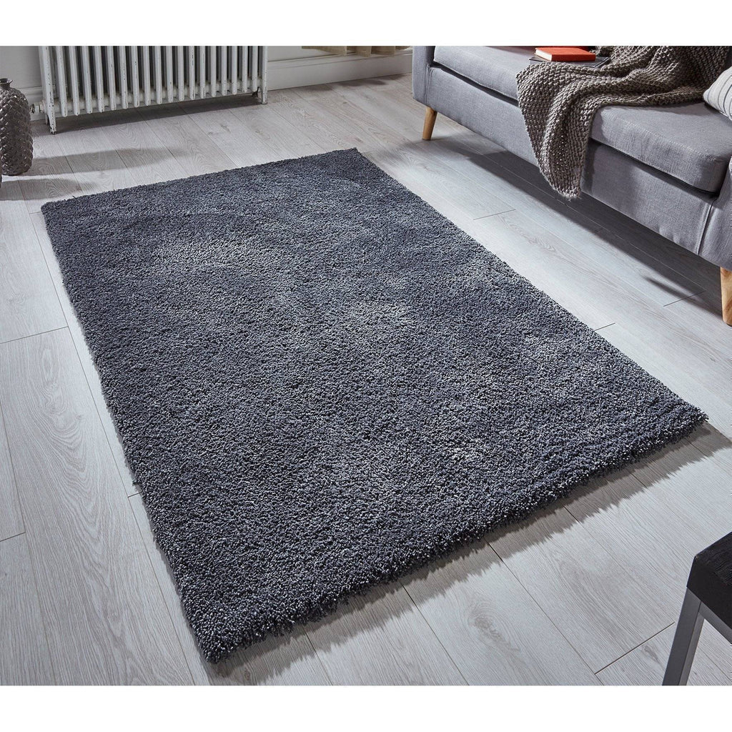 Soft Shaggy Charcoal Grey Area Rug RUGSANDROOMS