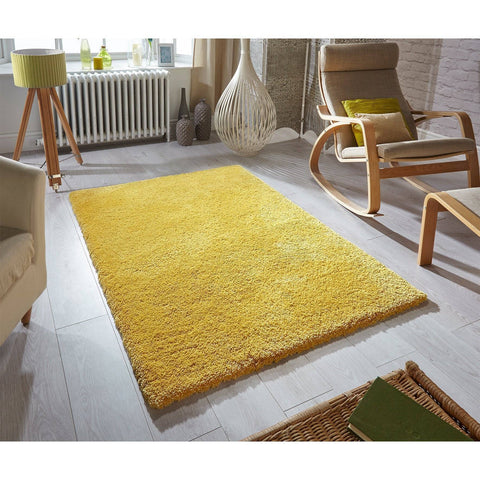 Image of Soft Shaggy Mustard Area Rug RUGSANDROOMS