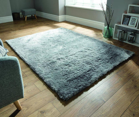 Image of Soft Silver Shaggy Rug RUGSANDROOMS