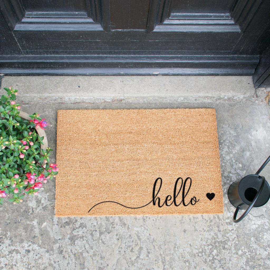 Hello Scribble Heart Doormat