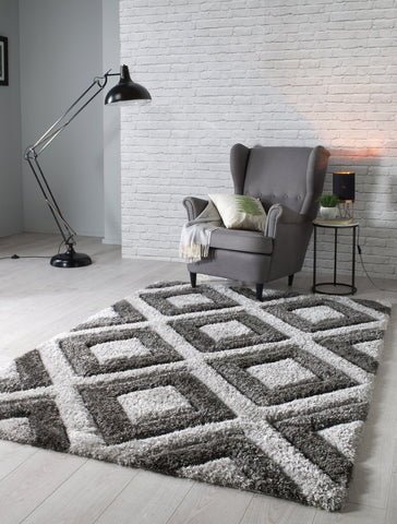 Image of Velvet 3D Silver/ Charcoal Area Rug