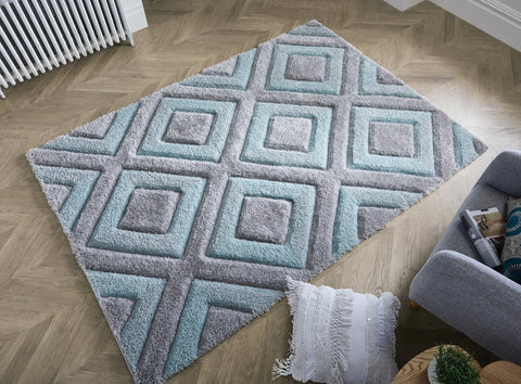 Image of Velvet 3D Silver/ Duck Egg Area Rug