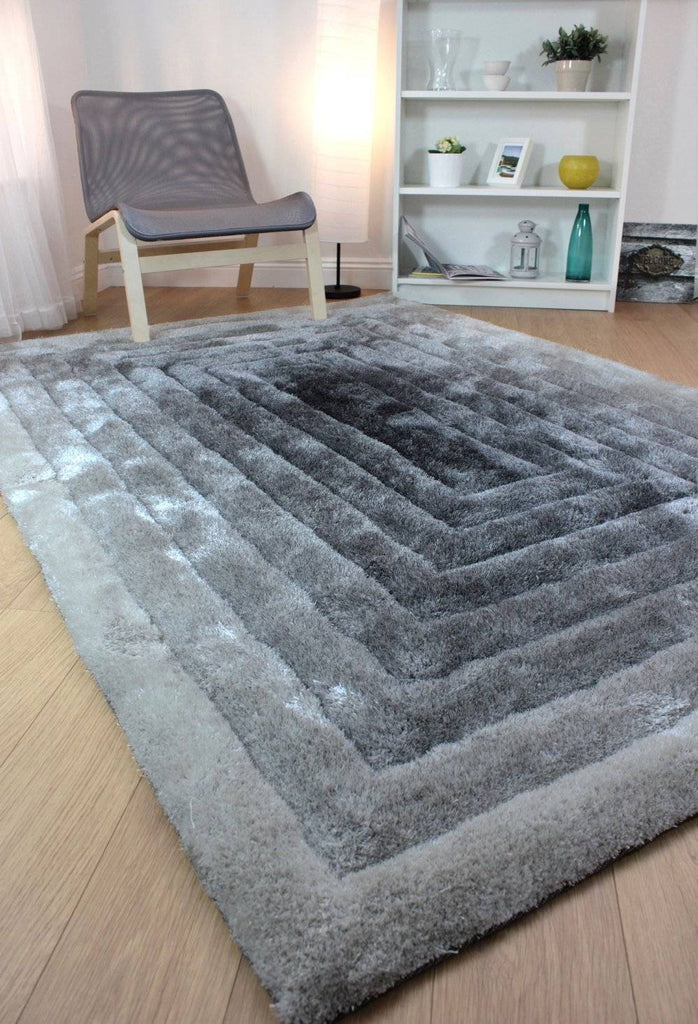 Ridged Shaggy Ombre Black/Grey Area Rug RUGSANDROOMS
