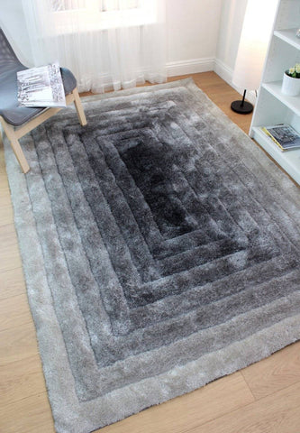 Image of Ridged Shaggy Ombre Black/Grey Area Rug RUGSANDROOMS