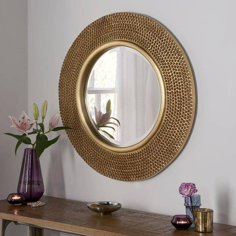 Image of Circular Studded Gold Wall Mirror RUGSANDROOMS