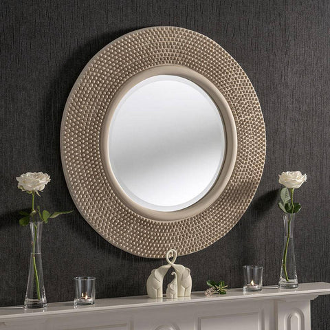 Image of Circular Studded Ivory Wall Mirror RUGSANDROOMS