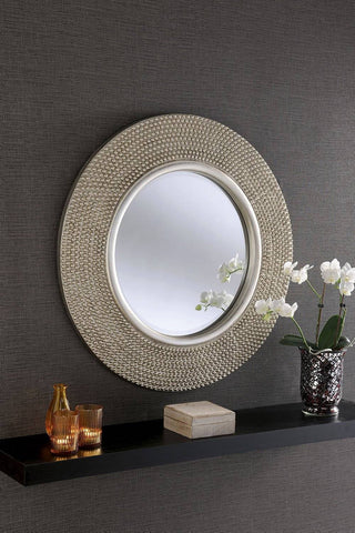 Image of Circular Studded Silver Wall Mirror RUGSANDROOMS