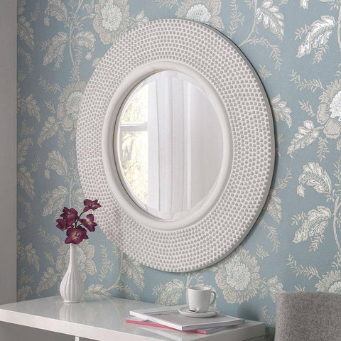 Image of Circular Studded White Wall Mirror RUGSANDROOMS
