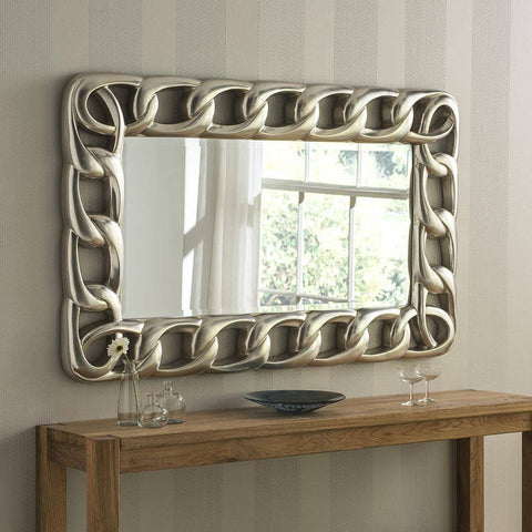 Chain Silver Wall Accent Mirror gagandeepstore