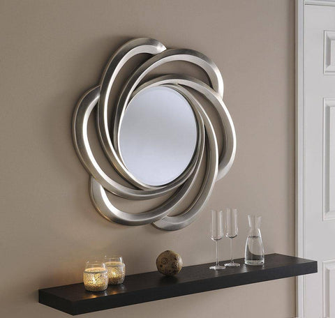 Image of Vedi Flower Silver Accent Mirror RUGSANDROOMS