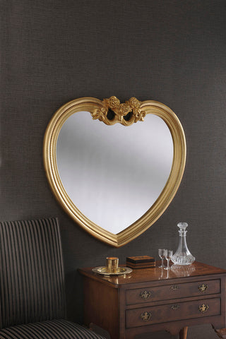 Gold Heart Mirror