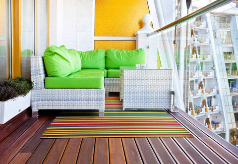 Image of Funzie Multi Colour Indoor-Outdoor Reversible Rug cvsonia