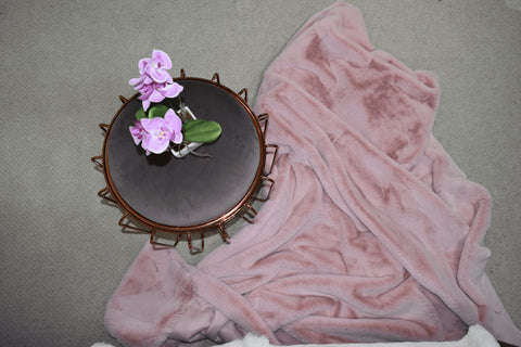 Sunday Pink Faux Fur Throw RUGSANDROOMS