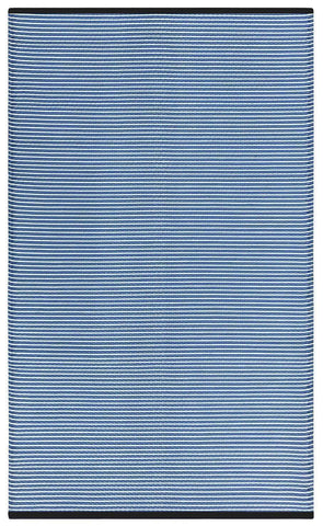 Image of Multi Blue Stripes Indoor-Outdoor Reversible Rug cvsonia