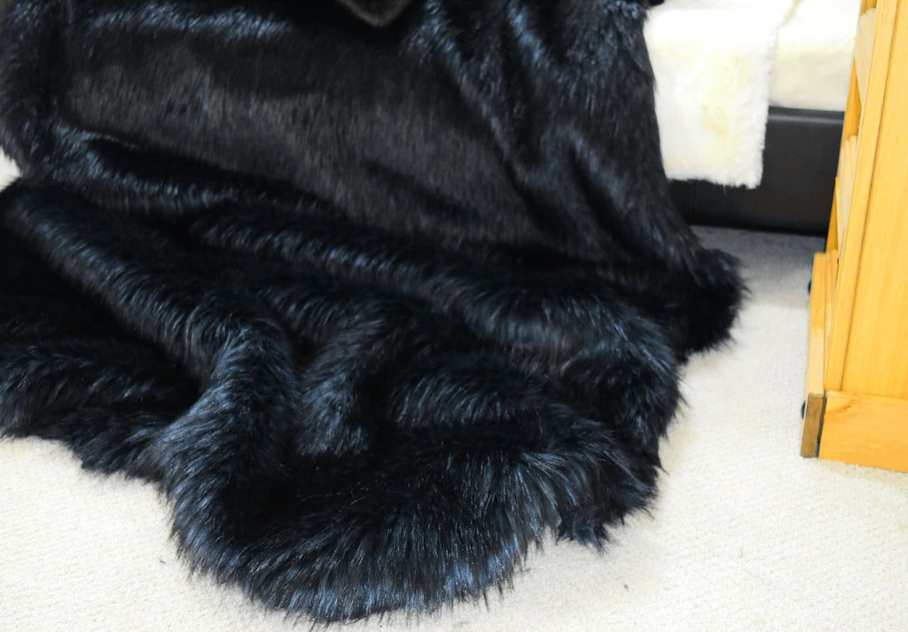Silver Back Faux Fur Throw RUGSANDROOMS