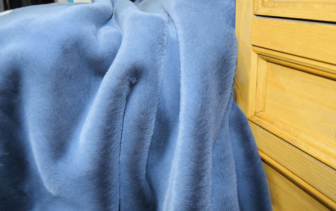 Russian Blue Faux Fur Throw RUGSANDROOMS