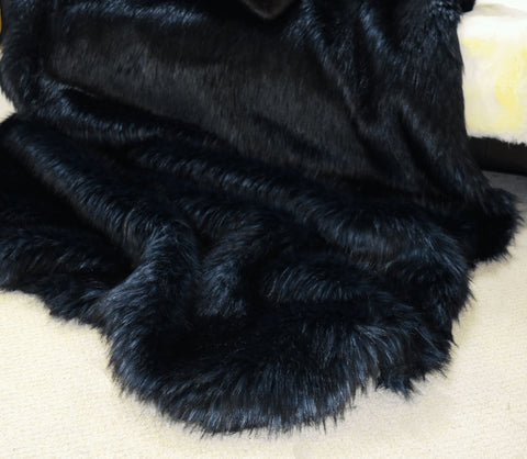 Image of Silver Back Faux Fur Throw RUGSANDROOMS