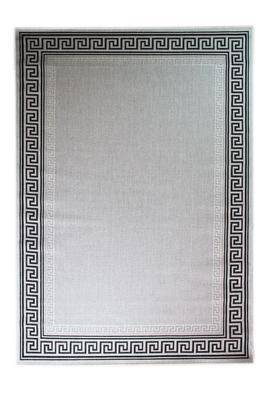 Athina Greek Bordered Flat Weave Grey Area Rug RUGSANDROOMS
