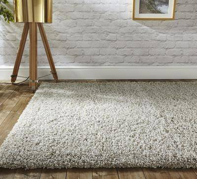 Axel Beige/White Shaggy Rug RUGSANDROOMS