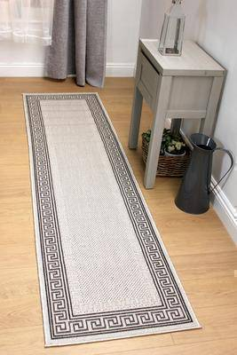 Image of Athina Greek Bordered Flat Weave Grey Area Rug RUGSANDROOMS