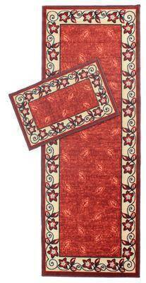 Leaf Bordered Terracotta Runner RUGSANDROOMS