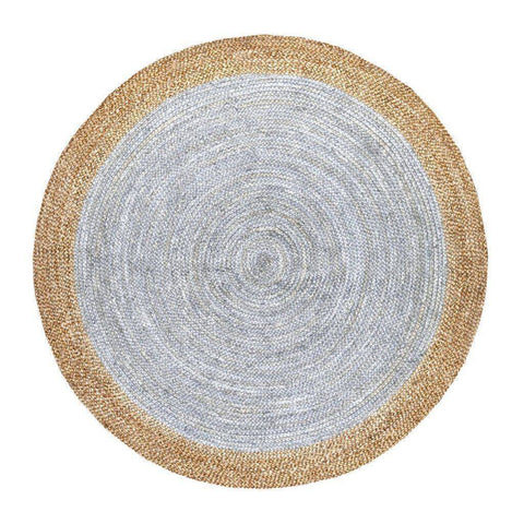 Oculus Handmade Round Jute Rug , Natural Light Grey cvsonia