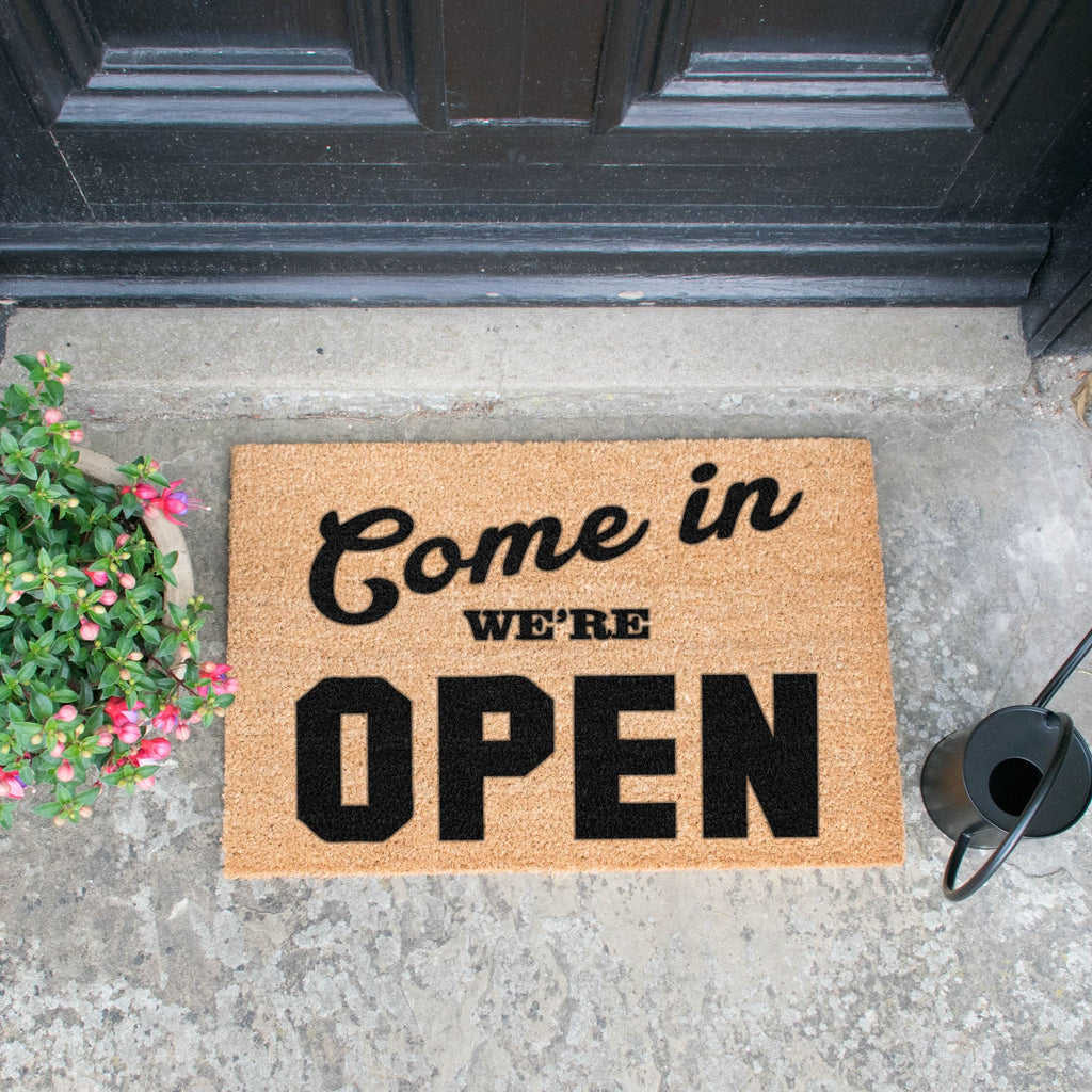 We're Open Doormat RUGSANDROOMS