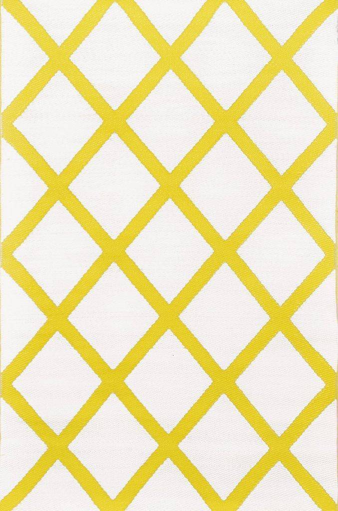 Diamond Mimosa Yellow & Cream Indoor-Outdoor Reversible Rug cvsonia