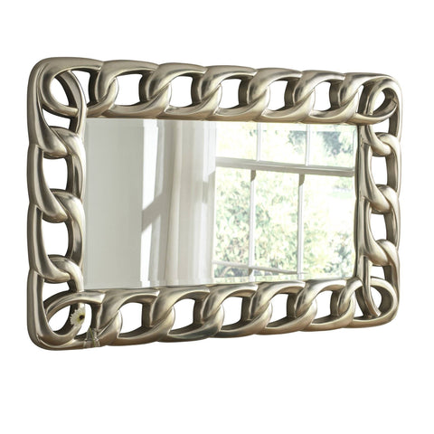 Image of Chain Silver Wall Accent Mirror gagandeepstore