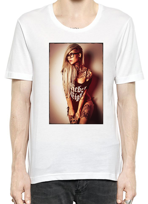 Sexy Rebel Inked Girl T-Shirt For Men