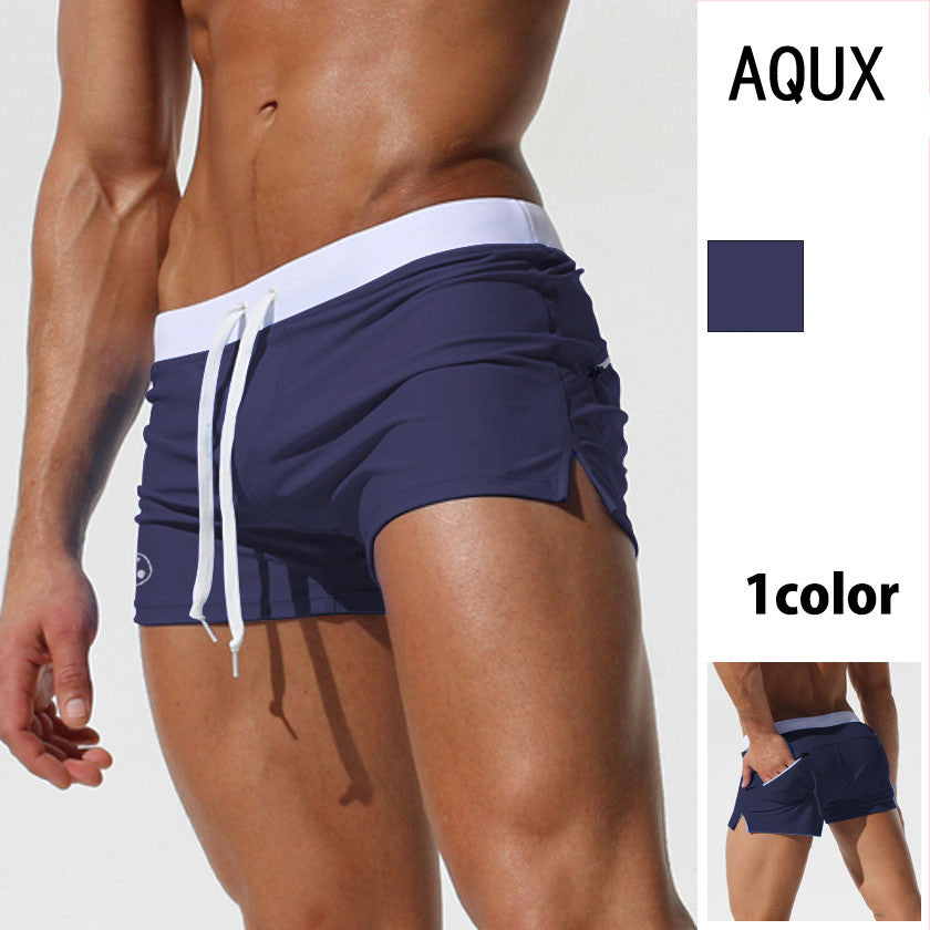 Men's Square Leg Swimsuit Men Short Swimming Trunks Pants Beachwear with a Pocket