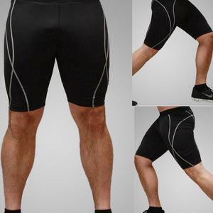 2pcs Men's Elastic Tight Sports Shorts Male Fitness Short Pants