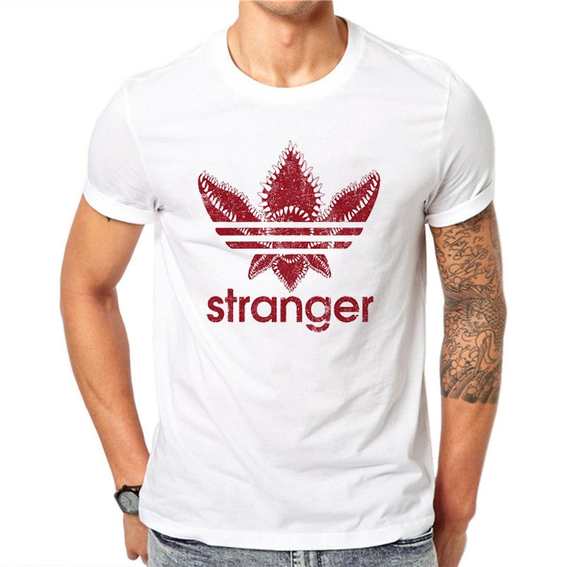 100% Cotton Red Clover Stranger 3D Print Men T Shirt Summer Fashion Short Sleeve White Tees Casual T-shirts Tops Plus Size