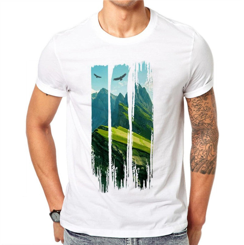 100% Cotton Landscape Painting 3D Print Men T Shirt Summer Casual Tees White Tops Mens Short Sleeve T-shirt Plus Size