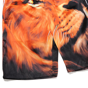 Mens Casual  Lion Printed  Beach Work Casual Men Short Trouser Shorts Pants