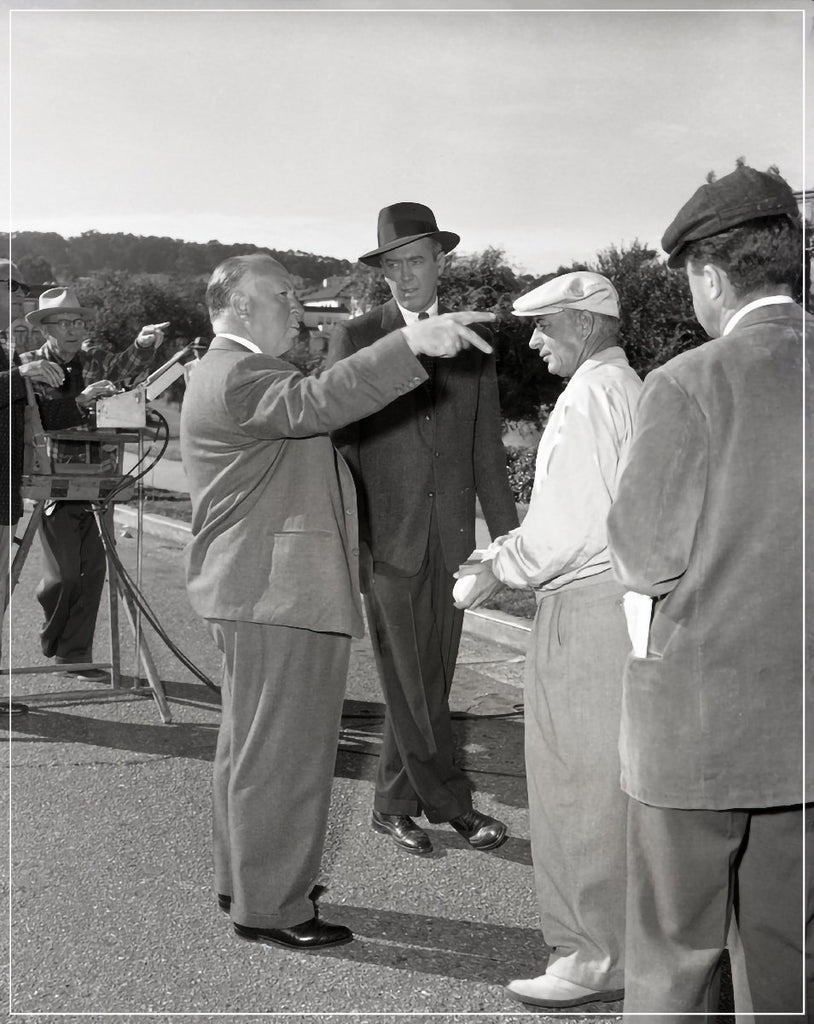 Alfred Hitchcock And James Stewart behind the scenes on set of Vertigo taken by Frank Worth Photography