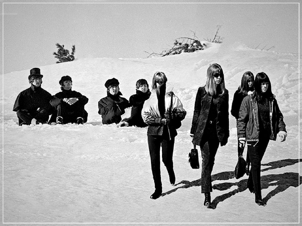 """Beatles and Ladies in Snow II""-Roger Fritz Fine Art Print-Global Images Gallery-Global Images"