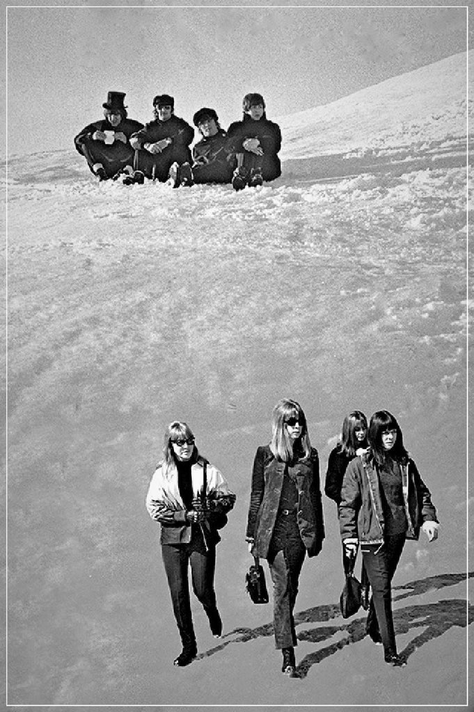 """Beatles and Ladies on Snow""-Roger Fritz Fine Art Print-Global Images Gallery-Global Images"