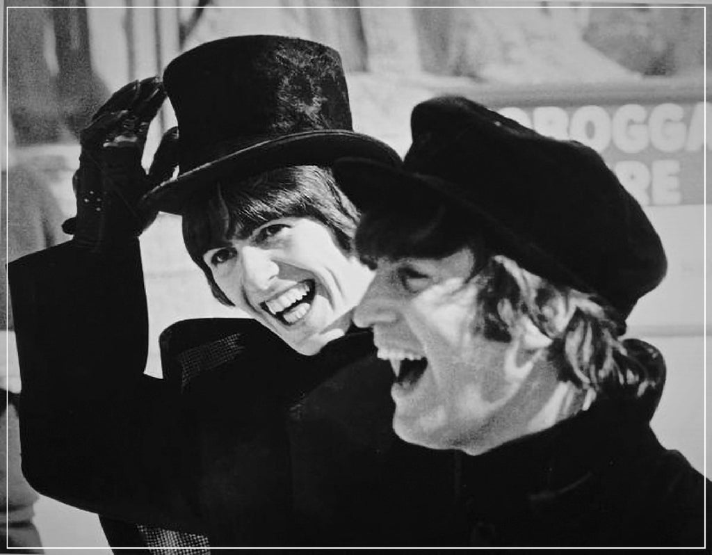 """Beatles in Hats Laughing""-Roger Fritz Fine Art Print-Global Images Gallery-Global Images"