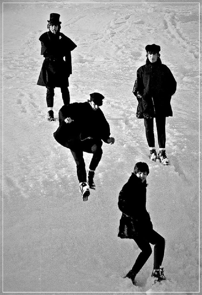 """Beatles Jumping in Snow""-Roger Fritz Fine Art Print-Global Images Gallery-Global Images"