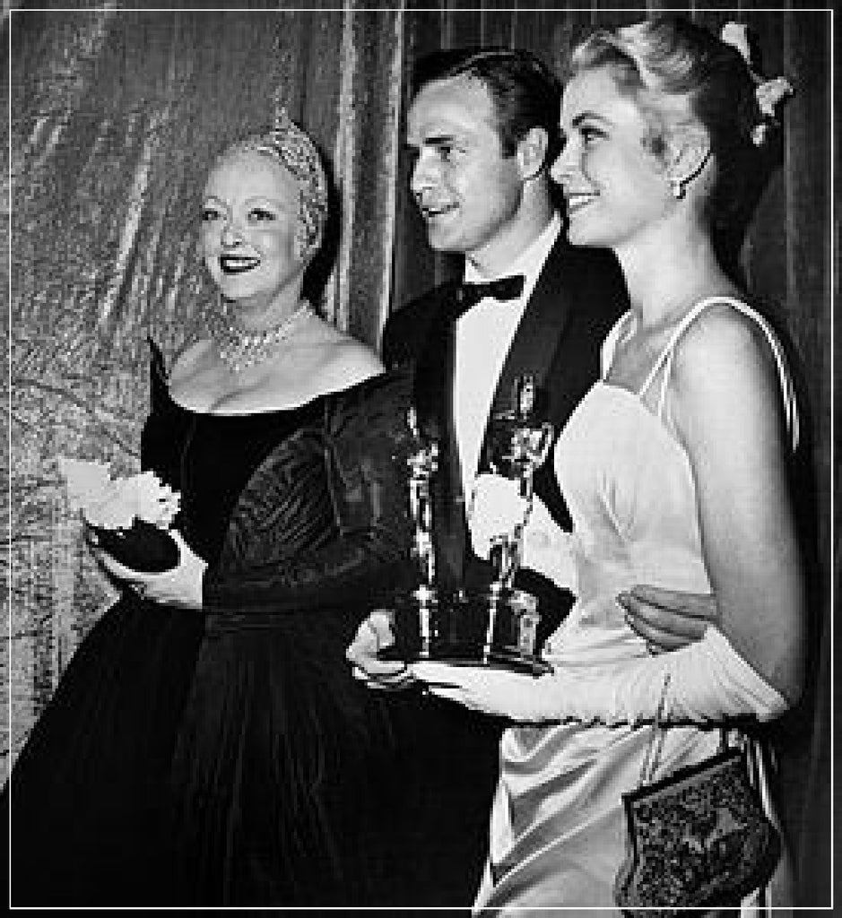 Bette Davis, Marlon Brando and Grace Kelly at the Oscars in 1954 taken by Frank Worth Photography