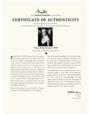 "Copy of Frank Worth Collection ""Grace Kelly Classic Portrait"" w/coa. 13x19 HSpp - Global Images Gallery"