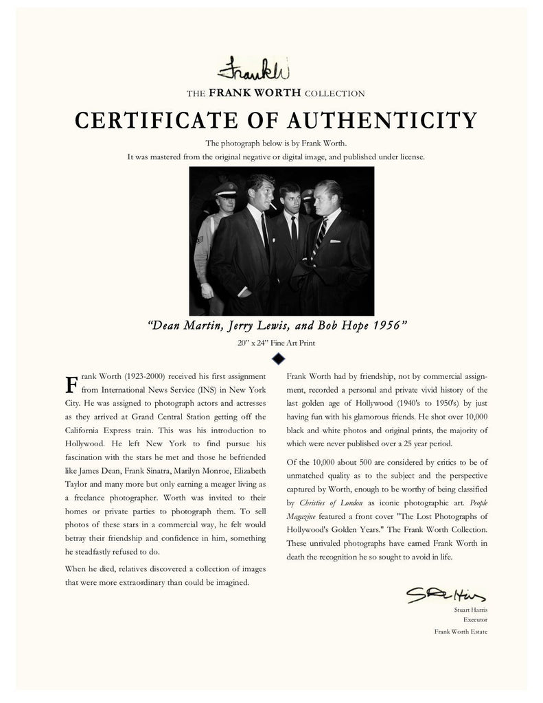 "Frank Worth Collection ""Dean Martin, Jerry Lewis and Bob Hope"" w/coa - Global Images Gallery"